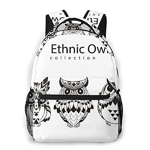 QQIAEJIA Casual Zaino,Black White Owl Silhouette Material,Business Zainetto Schoolbag For Men Women Teen