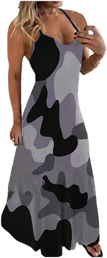 Summer Dress for Women,Women's Plus Size Sleeveless Tie Dye Maxi Dresses V Neck Boho Long Dresses Beach Summer Dress