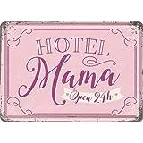 Nostalgic-Art Retro Grußkarte Hotel Mama, Idea de Regalo para el Día de la Madre, Postal, Mini Placa de Chapa de Estilo Vintage, 10 x 14 cm