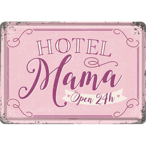 Nostalgic-Art 10315 Hotel Mama 10 x 14 cm   hälsningskort   Retro vykort plåtkort, metall, kulle, 10 x 14 x 0,1 cm