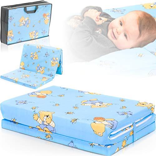 Reisebettmatratze TRAVEL 120x60cm (+Tragetasche) für Baby Reisebett/Kinder Bett (Zirkusbär Blau)