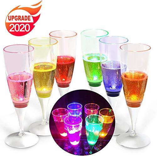 YANX Copa de Champán de LED Líquido Activado Copas Vino Champagne Glasses para Fiestas, Bar, Boda, Festival (Paquete de 6 Unidades)