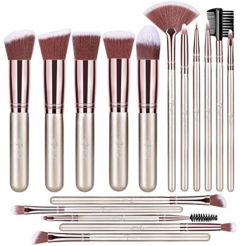 BESTOPE Pinselset Make up Pinsel Set Professionelle mit Gesichtspinsel Lidschattenpinsel Augenpinsel Synthetische Haar Kosmetik Pinselsets Eyeshadow Eyeliner Gesichtspuder 16 Stück Champagner Gold