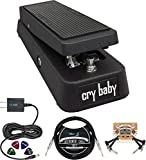Dunlop GCB95 Cry Baby Standard Wah Pedal for Guitars Bundle with Blucoil Slim 9V Power Supply AC Adapter, 10-FT Straight Instrument Cable (1/4in), 2-Pack of Pedal Patch Cables, and 4x Guitar Picks