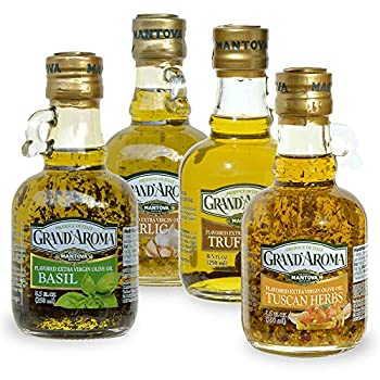 Grand aroma Tuscan Herbs,Garlic Basil Truffle Flavored Extra Virgin Olive Oil 8.5-Ounce Bottles  Pack of 4