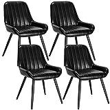 Lestarain 4X Sillas de Comedor Dining Chairs Sillas Tapizadas Paquete de 4 Sillas Cocina Nórdicas Cuero Sintético Sillas Bar Metal Silla de Oficina Negro
