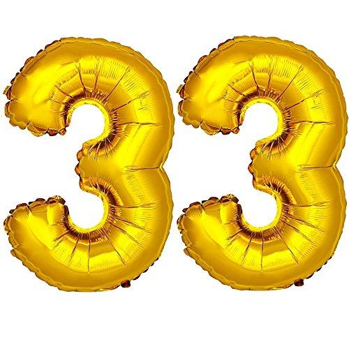 DekoRex® 33 Globo en Oro 120cm de Alto decoración cumpleaños para Aire y Helio número
