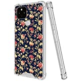 LSL Crystal Clear Compatible with Google Pixel 4a 5G/5 XL Flower Wallpaper Ultra Case Yellow-Resistance Clear Bumper Shockproof Protected