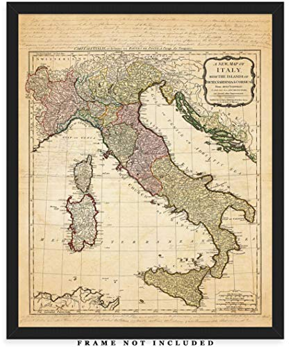 Vintage Italy Map Wall Art Print - (8x10) Photo Unframed Make Great Room Wall Decor Gift Idea Under $15
