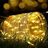 Funight Lichtbänder Im Freien, 8 Modi PVC-Rohr LED-Lichterketten, 16,4 Fuß Wasserdichte Lichterketten Splitterdraht Lichterketten Für Gartenzaun Party Dekor Warmweiß