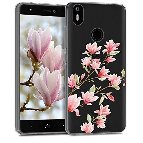 kwmobile Funda Compatible con bq Aquaris X/X Pro - Carcasa de TPU y Magnolias en Rosa Claro/Blanco/Transparente