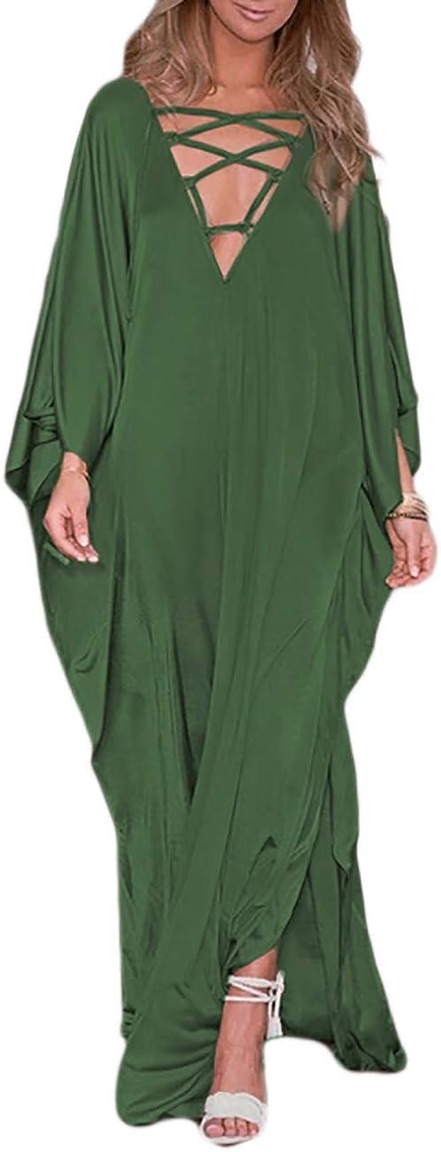 Bsubseach Women Lace Up V Neck Bikini Swimsuit Cover Up Batwing Sleeve Satin Beach Dress