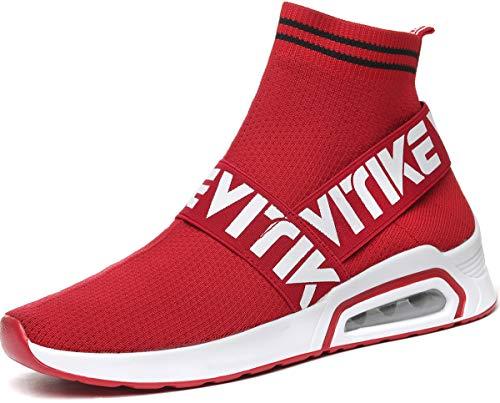 Chaussures de Sport Ultra-légères pour Femmes Chaussures de Sport à Coussin d'air Baskets Mode Chaussures pour Garçon Fille, 1 Rouge, 40 EU