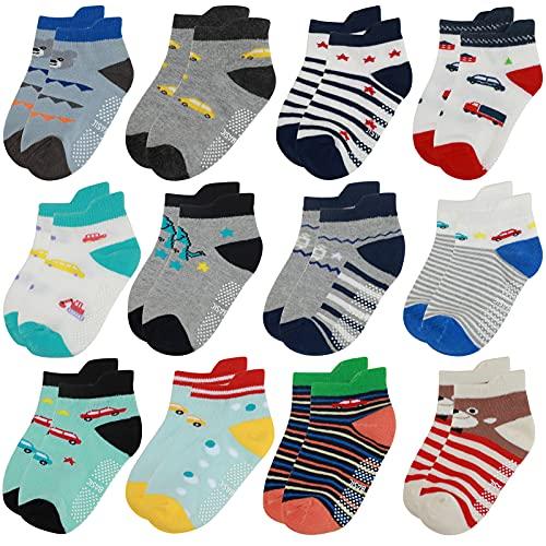 Yafane Baby Socken 12 Paar Antirutsch Anti-Rutsch Neugeborenes Kinder Kleinkinder Babysocken Rutschfest für 0-7 Jahre Baby Jungen und Mädchen (Blau-Grau, 1-3 Jahre)