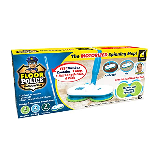 Original As Seen On TV Floor Police Mop with Motorized Dual Spinning Mopheads & 6 Unique Cleaning Pads by BulbHead, Lightweight, Rechargeable & Cordless, Great Hardwood Floor and Tile Cleaner