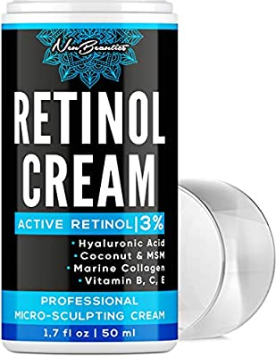 Micro-Sculpting Anti-Aging Retinol Moisturizer - Made in USA - Facial Moisturizer with 3% Retinol, Hyaluronic Acid & Collagen - Anti-Wrinkle & Fine Line Reduction - Rich Wrinkle Cream for Face & Neck