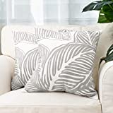 "Embroidered Leaf Decorative Throw Pillow Cover Tropical Leaves Embroidery Pillow Case for Couch Sofa Bedroom, Plant Monstera Leaf Pillow Cover Handmade Cotton Pillowcase 18""X18"", Set of 2 Grey White"