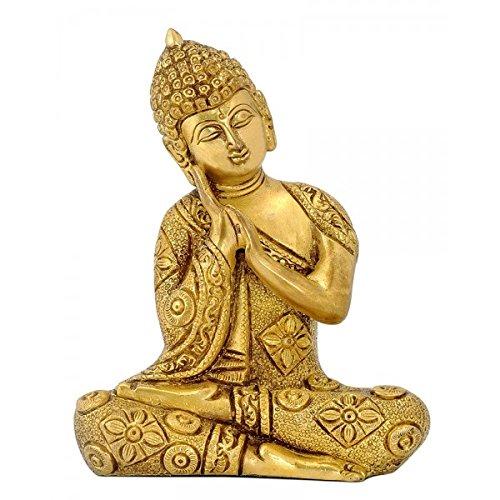 Gangesindia Brass Carved Fine Resting Buddha Statue
