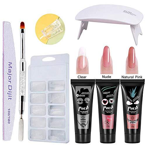 Polygel Nails Extension Gel Kit, Anself 3 Colors Quick-dry Poly Gel + 100pcs Nail Molds + UV Nail...