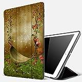 Qinniii Carcasa con Magnetic Auto-Sueño,Hoja Hamaca Flor Mariposa Verde Prado Seta Salvaje Floral Fantasía Paisaje,Ligéra Protectora Suave Silicona TPU Smart Cover Case para iPad 5./6.