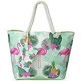 Große Wasserdicht Strandtasche mit Reissverschluss, ZWOOS Damen Shopping Shopper Tasche Reisetasche...