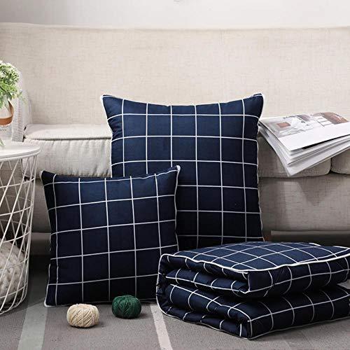 WTMLK 2 en 1 Manta de edredón de Almohada de Tiro Cojín Plegable de algodón Rayas a Cuadros Oficina en casa Cojín de Almohada de Coche Cojín Trasero, Azul Marino, cuadrícula pequeña, 50x50cm