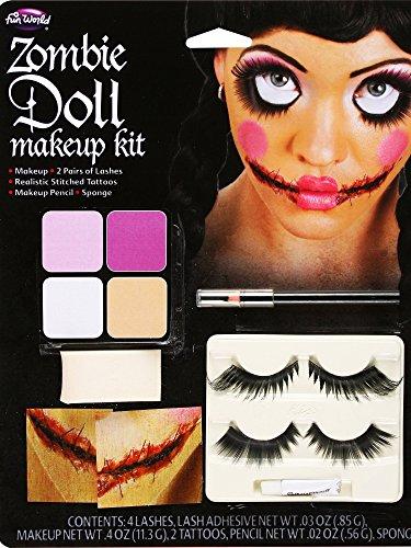 Unbekannt Voodoo-Puppe Schminkset Halloween-Make-up 7-teilig bunt Einheitsgröße