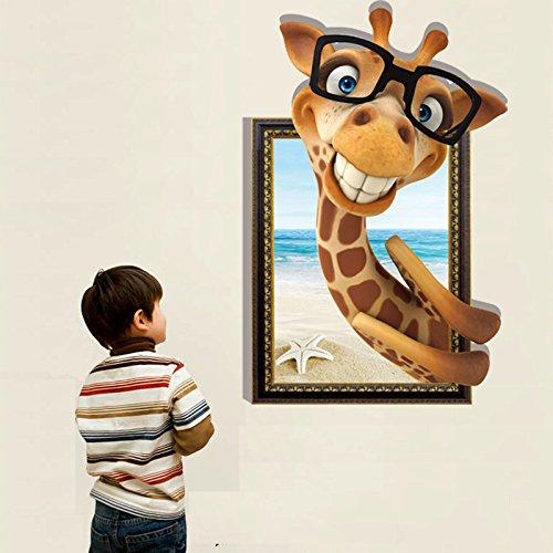 GYHTXHJPET muurstickers, creatief, mode, muurstickers, milieuvriendelijk, schilderen, decoratie van het huis, vliegtuig, decoratief papier, wandbehang, waterdicht, stereoscopisch, giraffe, tekening van een kinderkamer, kleurrijk, 60 x 90 cm