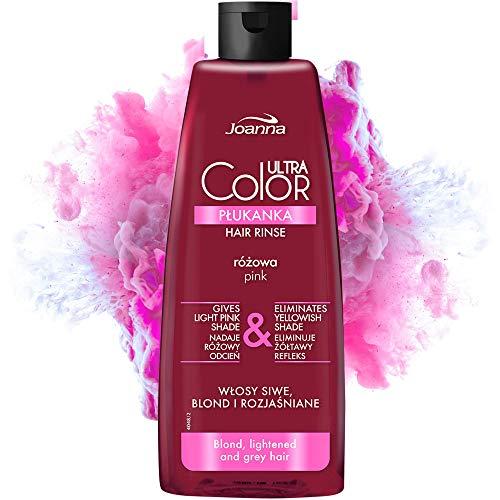Joanna Ultra Color - Rosa Farbspülung für Blondes und Helles Haar - Pastell-Rosa/-Pink - Natürlicher Glanz - Beseitigt Gelbstich in Grau-Blond Blondiertem Haar -...