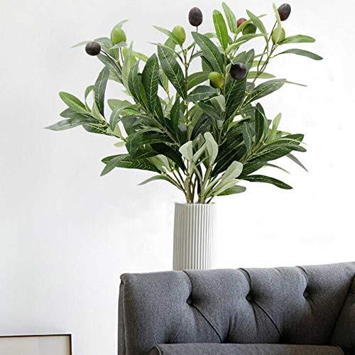 Sdkmah9 - Pianta artificiale, 5 pezzi, bouquet di fogliame, decorazione per la casa, decorazione per matrimoni, rami di ulivi, verdura, ufficio, frutta, foglie finte