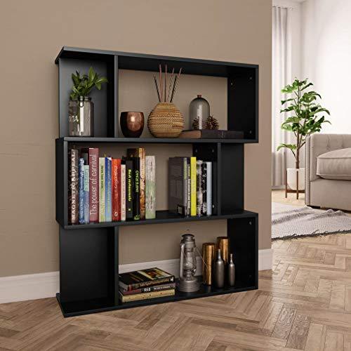 vidaXL Estantería Librería Separador Ambientes Baja Estante Libros Divisor Espacios 3 Niveles 6 Cubos Modulares Grandes y Pequeños Aglomerado Negro