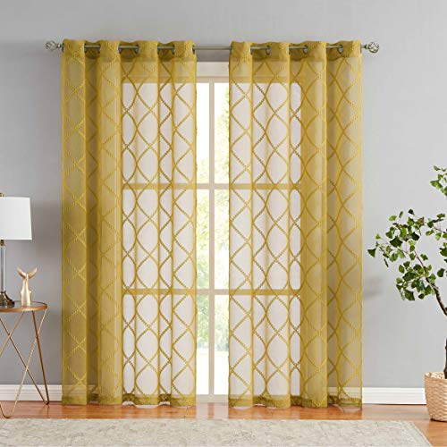 """Nottingson Home Mustard Yellow Sheer Curtains 84 Inches Long Geometric Jacquard Diamond Semi Sheer Panels Moroccan Tile Pattern Embroidery Window Drapes Yellow Grommet Top 54"""" Wx84 L 2 Panels"""