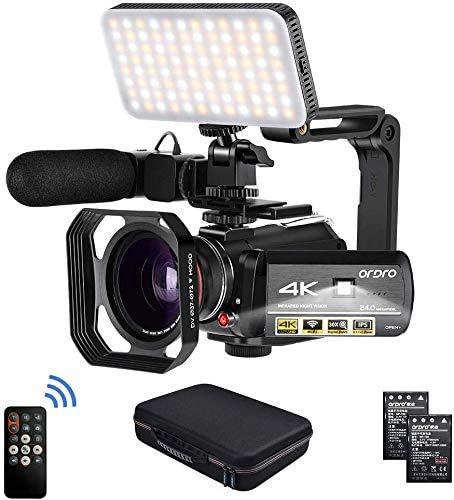 Camcorder 4k Video Kamera, ORDRO Videokamera HD 1080P 60FPS Vlog Kamera IR Nachtsicht WiFi Camcorder mit Mikrofon, LED Licht, Weitwinkelobjektiv, Halter, Tragetasche