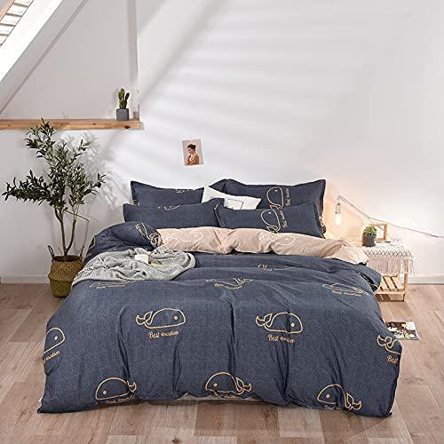 Juego De 4 Piezas De Algodón Lavado Ropa De Cama Textiles para El Hogar Funda Nórdica Estampada Cómoda Transpirable Y Fácil De Limpiar 180x220cm