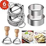 Ravioli Stamp Maker Cutter Round Shapes 2inch/2.56inch Mold with Wooden Handle +Dumplings Maker Dumpling Press Molds + Dumpling Skin Maker in 3.74inch/ 3.34inch Dumpling Wrapper Cutter Pie