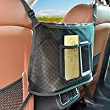 WARMQ Car Net Pocket Handbag Holder, Purse Holder for Car, Seat Back Organizer Mesh, Driver Seat Back Net Bag, Dog Car Barrier, Car Storage for Purse Phone Documents