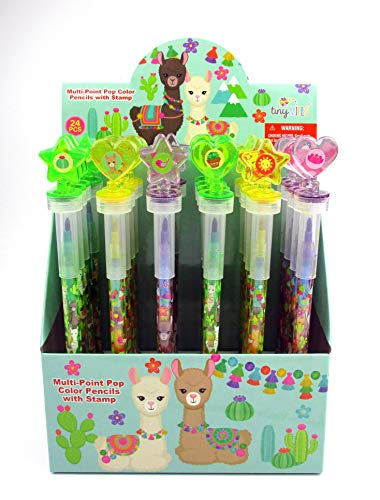 TINYMILLS 24 Pcs Llama Alpaca 2 in 1 Stackable Stacking Crayon with Extra Stamper Topper, Kids Party Favors, Goodie Bag Stuffers, Classroom Rewards, Prizes