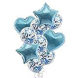 Globos de Papel Confeti con Forma de Corazón y Estrella Juego de Globos , Decoración de Feliz Cumpleaños Azul, Globos de Helio para Baby Shower, Boda 10 Piezas