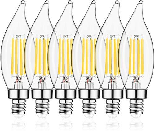 E12 LED Candelabra Bulb 60W Equivalent Dimmable LED Chandelier Light Bulbs 4.5W 2700K Soft White 500LM B10 Flame Tip Vintage LED Filament Candle Bulb with Decorative E12 Candelabra Base, 6 Pack