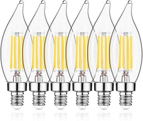 E12 LED Candelabra Bulb 60W Equivalent Dimmable LED Chandelier Light Bulbs 4.5W 2700K Soft White 500LM B10 Flame Tip Vintage LED Filament Candle Bulb with Decorative Candelabra Base, 6 Packs