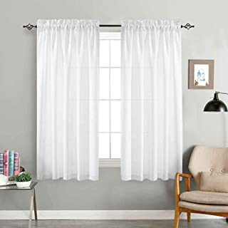 jinchan Privacy Semi Sheer Curtains for Bedroom Casual Weave Window Curtains for Living Room 63 inches Long Linen Look White Curtain Panels Pack of 2