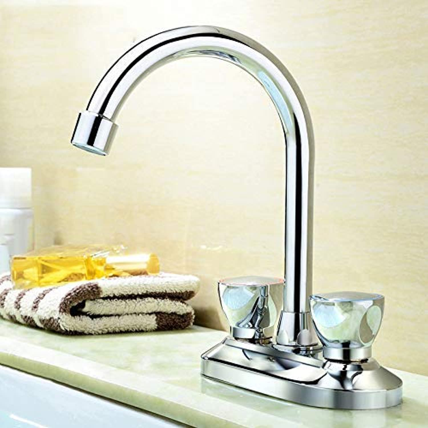 Oudan Basin Mixer Tap Bathroom Sink Faucet Double Double Handle hot and cold basin tap,T (color   T)