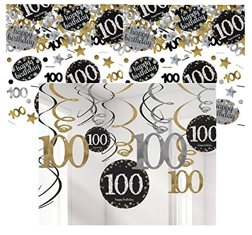 Feestelijke feesten verjaardagsdecoratie 100 verjaardag | 13 delen decoratieset spiraal slinger plafondhanger wervel confetti goud zwart zilver party decoratie Happy Birthday 100