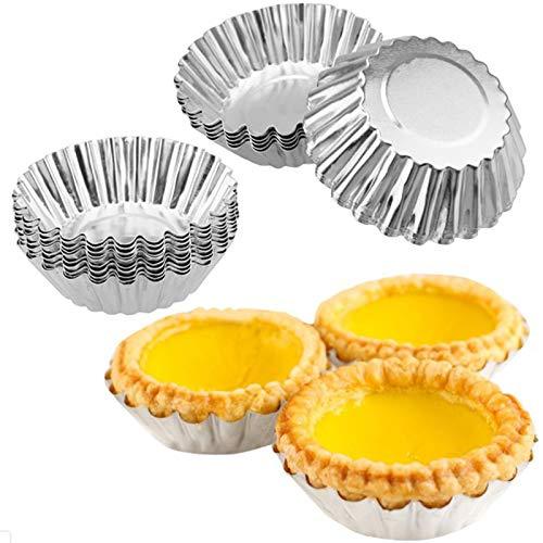 Velidy Moldes para tartas de huevo, sartenes para hornear herramientas para hacer tartas de huevo, cupcakes, magdalenas, gelatina, pastelería, 50 unidades