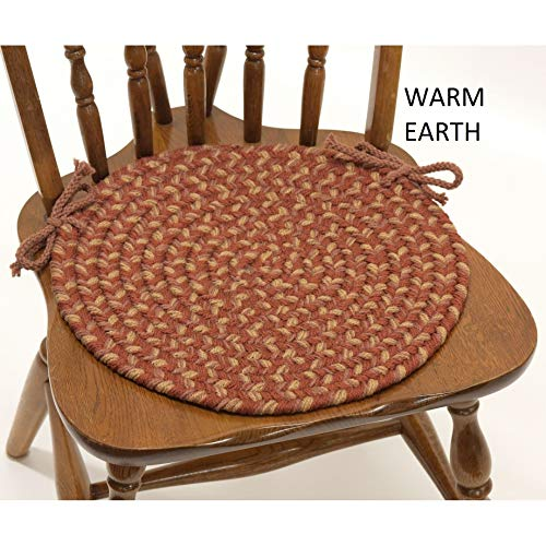 Set of 4 Brown Braided Chair Pads with Ties Simple Circle Chair Cushions Pads Round Shaped Patios Dining Room Seat Pad Reversible Country Rustic Farmhouse Table Decor Soft Synthetic Fiber, 15'x15'