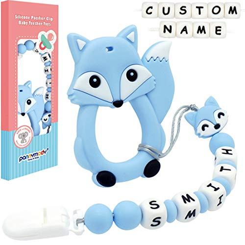 Panny & Mody Cadenas para Chupetes Personalizados con zorro Mordedores de Silicona para Bebés y Niñas(Azul)
