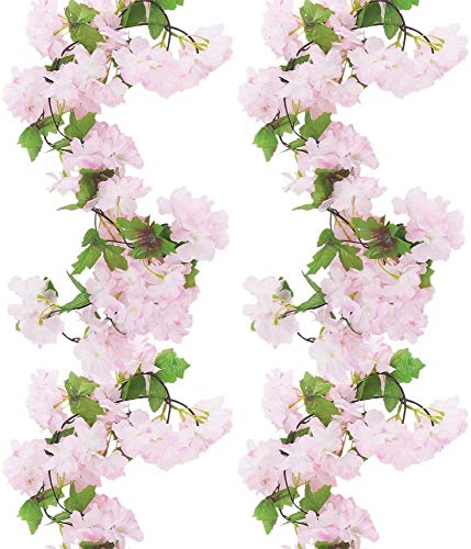 2Pack Artificial Cherry Blossom, 2.35M Artificial Flowers Vines Cherry Vine Silk Flowers Floral Garland Hanging for Home Bedroom Garden Wedding Party Hotel Wall Decoration (Light Pink)