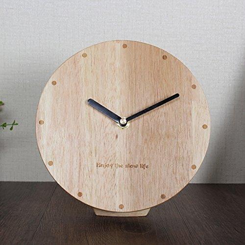 Horloge en Bois Massif, Salon Horloge Pendule Minimaliste Moderne horloges de Bureau Horloge Maison Horloge Chambre Nordique créatif Cloche (Taille : 10 inches)