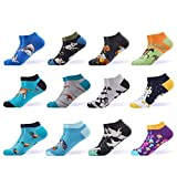 WeciBor Calcetines cortos Hombre Estampados Hombres Ocasionales Calcetines Divertidos Impresos de Algodón de Pintura de Arte Calcetines Verano Tobillo Calcetines de Colores de moda (ESB052-23)