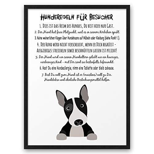 Hunderegeln Hunde-Hausordnung ABOUKI Kunstdruck Poster Bild Geschenk-Idee für Männer Frauen Freund Freundin Hundebesitzer Frauchen Herrchen - ungerahmt DIN A4